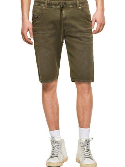 מכנסי ברמודה, אורך עד הברך, גזרה ישרה, שרוך קשירה, צבע ירוק זית, בד נעים ונוח