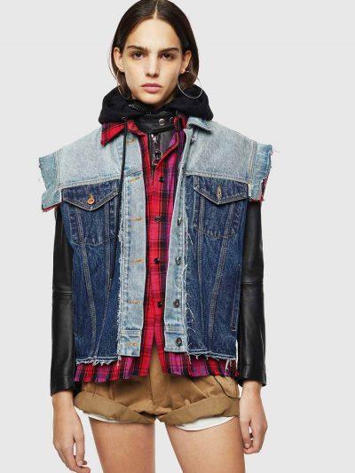 ג'קט עור בצבע שחור עם אפקט תלת-שכבתי של חולצת פלנל משובצת, וסט ג׳ינס בשני צבעים שונים וקצוות פרומים. פאץ׳ לוגו המותג בגב.