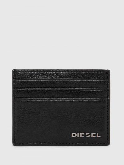 ארנק כרטיסים, קטן, עשוי עור, צבע שחור, לוגו דיזל ממתכת