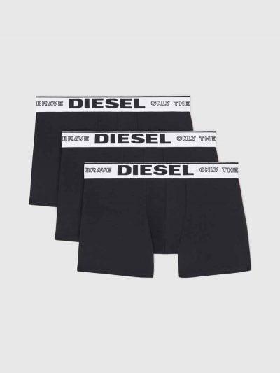 מארז של 3 תחתונים בצבע שחור ובגזרת בוקסר צמוד, לוגו המותג על גומי המותן.