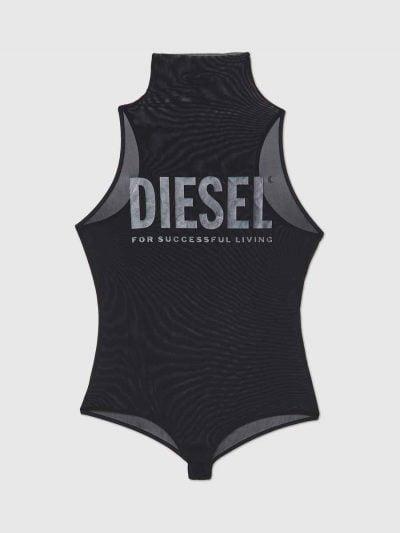 בגד גוף בצבע שחור בגזרת חצי גולף עם תחתון ברזילאי מעוטר בלוגו דיזל קלאסי בהיר כסוף