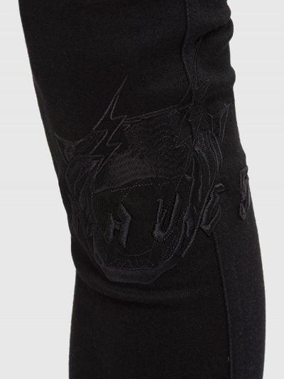 די איסטרוט –ג'ינס בגזרת סופר סקיני בצבע שחור עם הדפס ורקמה-