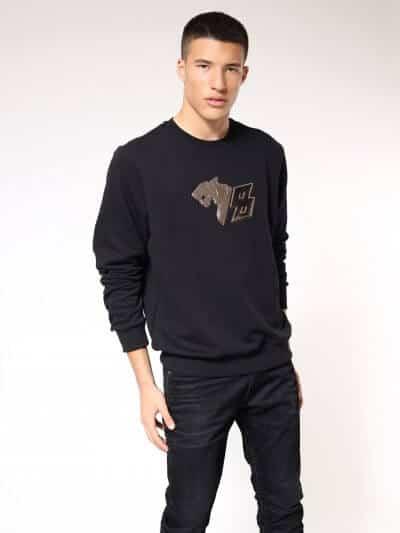 סווטשרט בצבע שחור בגזרה רגילה, עם תבליט פנתר בצבע כסף בחזה ולוגו המותג בעורף