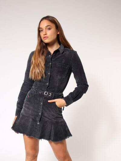 שמלת מיני קאמל מקורדרוי-אפור כהה