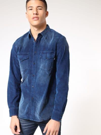 חולצת קורדורוי אפורה בסגירת כפתורי לחיצה-כחול