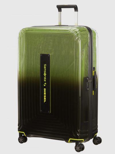 מזוודת טרולי, צבע שחור ירוק צהוב, לוגו סמסונייט ודיזל, גלגלים