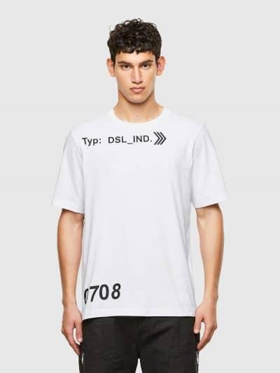 טישרט שרוול קצר בגזרה רגילה בצבע לבן עשויה כותנת ג'רזי משובחת. על החזה, במכפלת ובמרכז הגב, הדפסי לוגו בצבע שחור.