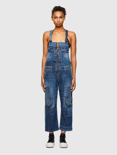אוברול ג׳ינס במראה של סרבל עבודה בשני גוונים של כחול המקנים מראה וינטג׳ בגזרה רגילה ישרה ובאורך קרסול. בסגירת רוכסן וכתפיות ג'ינס מתכווננות הנסגר