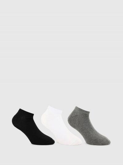 מארז של 3 גרביים בגזרה נמוכה בצבעים שחור/לבן/אפור עם הדפס לוגו המותג.