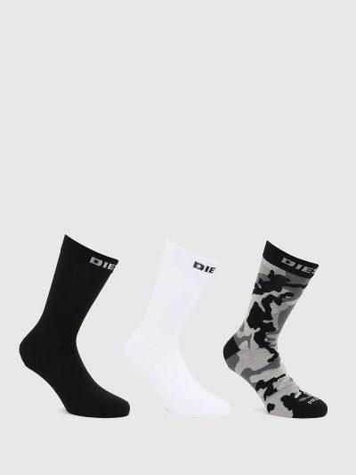 מארז של 3 גרביים בגזרה גבוהה בצבעים שחור/לבן/אפור צבאי עם הדפס לוגו המותג.