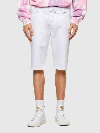 ברמודת ג'וג בגזרה צרה באורך הברך ובצבע לבן חלק. למכנס חגורת גומי אלסטית ושרוך. המכנס הוא שילוב ייחודי וראשון מסוגו המשלב תפירה בצורת שתי וערב של
