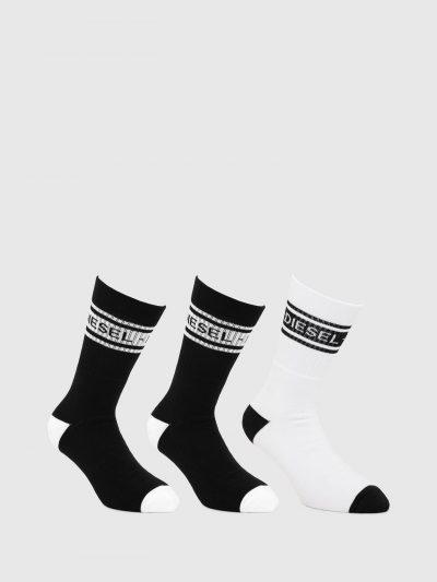 גרביים שחורים ולבנים עם לוגו דיזל-