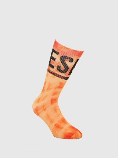 גרביים בהדפס כתום-צהוב עם לוגו-