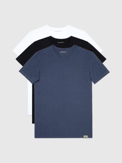 מארז שלוש חולצות טי שחור/כחול/לבן שרוול קצר לוגו דיזל קטן בשרוול