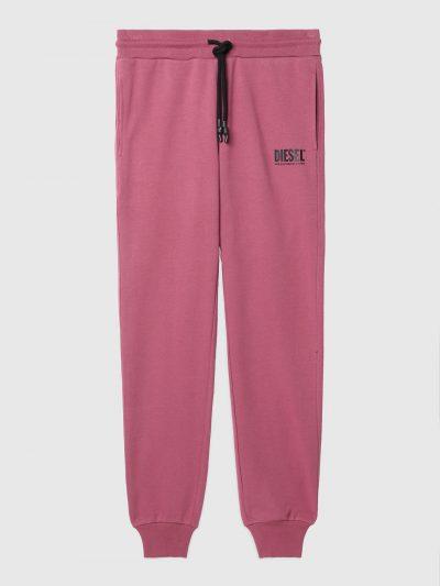 מכנסי טרנינג צבע ורוד-סגול בד כותנה לוגו דיזל שחור קטן