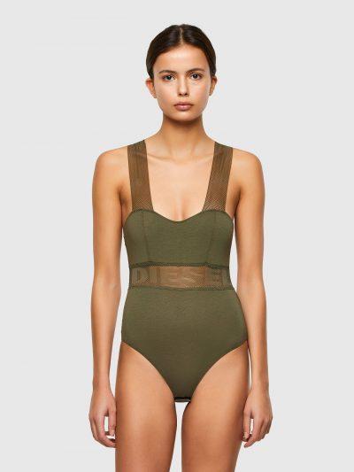 בגד גוף, צבע ירוק זית, כתפיות רשת עבות עם לוגו, בד רשת עבה עם לוגו מתחת לחזה