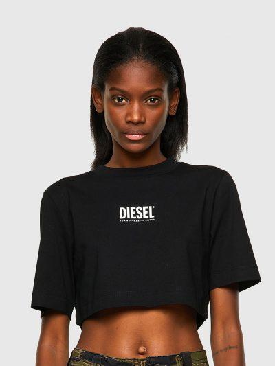 חולצת טי, שרוולים קצרים, צבע שחור, גזרת קרופ, הדפס שחור של לוגו דיזל קטן בחזה