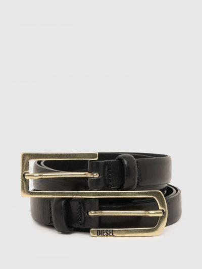 חגורת עור, צבע שחור, מורכבת משתי חגורות נפרדות שמחוברות יחד על ידי אבזמים
