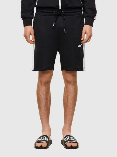 מכנסי טרנינג קצרים, צבע שחור, פס לבן בכל צד, לוגו קטן מקדימה, בד סקובה דק, קשירת שרוך