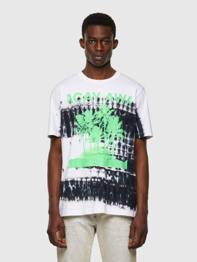 חולצת טי לבנה שרוול קצר הדפס טאי-דאי שחור והדפס עץ דקל ירוק ניאון