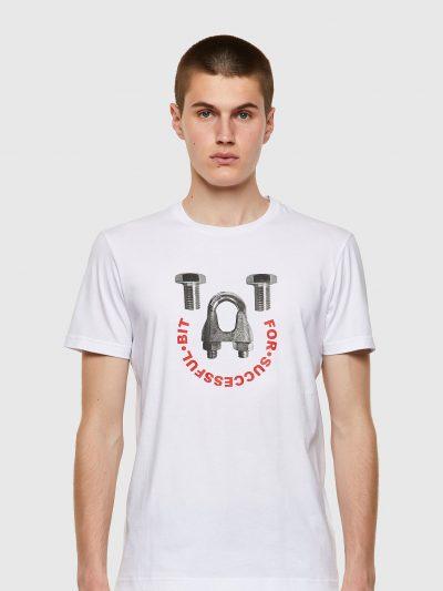 חולצת טי, שרוולים קצרים, צבע לבן, הדפס ברגים והדפס כיתוב אדום