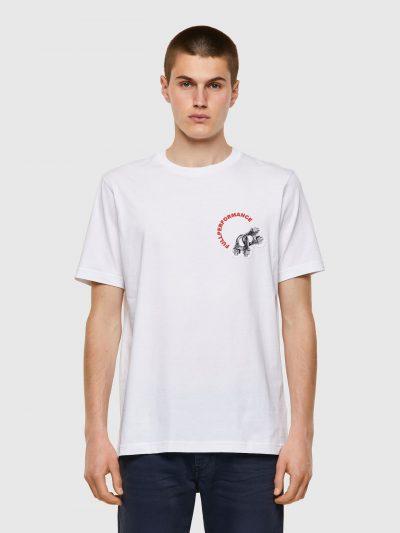 חולצת טי, שרוולים קצרים, צבע לבן, הדפס גדול של מנעולים וכיתוב אדום בצד האחורי, אותו הדפס קטן בצד הקדמי