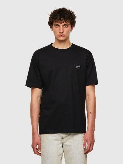 חולצת טי, שרוולים קצרים, צבע שחור, רקמת לוגו קטנה בצד הקדמי, הדפס עצי דקל בצד האחורי