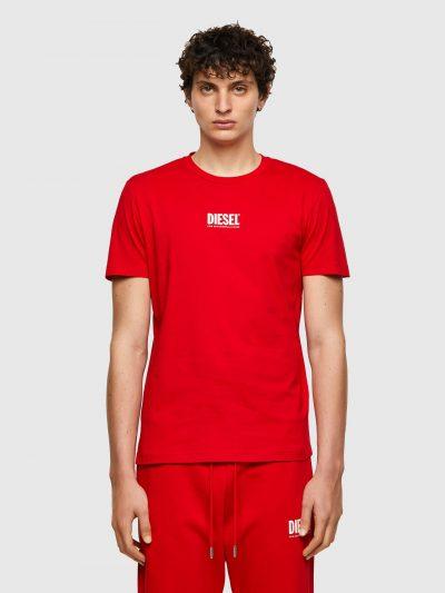 חולצת טי, שרוולים קצרים, צבע אדום, לוגו דיזל קטן בצבע לבן