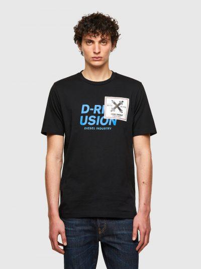 חולצת טי, שרוולים קצרים, צבע שחור, הדפסים מעולם התעשייה והמכונות