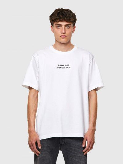 חולצת טי, שרוולים קצרים, צבע לבן, הדפס כיתוב מלפנים, הדפס איור פנתר מאחור