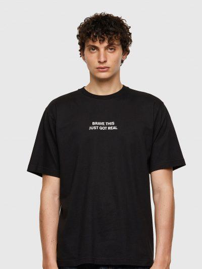 חולצת טי, שרוולים קצרים, צבע שחור, הדפס כיתוב מלפנים, הדפס איור פנתר מאחור