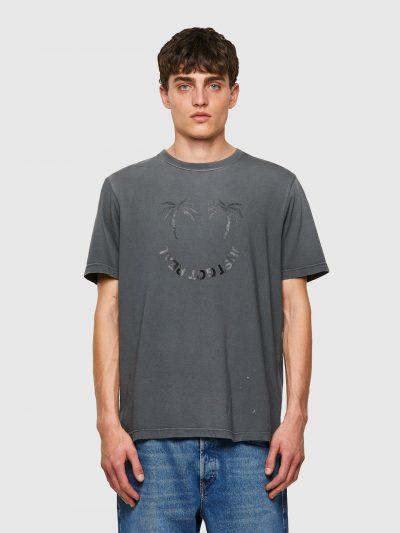 חולצת טי, שרוולים קצרים, צבע אפור דהוי, הדפס עצי דקל וכיתוב