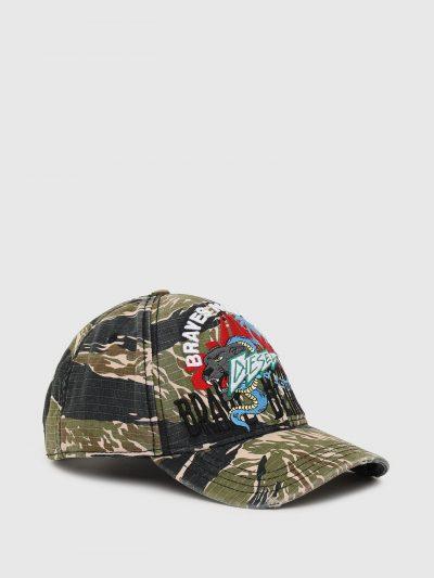 כובע מצחייה, הדפס הסוואה ירוק, רקמה של נמר