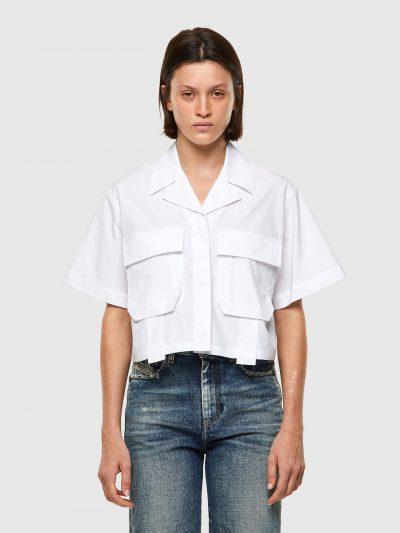 חולצת בטן, מכופתרת, שרוולים קצרים, צבע לבן, גזרה משוחררת, כיסים קדמיים, סגנון צבאי