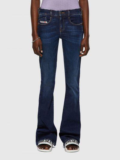 ג׳ינס כחול כהה מתרחב למטה גזרה נמוכה סגירת רוכסן