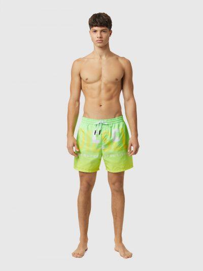 בגד ים מכנסיים קצר, צבע צהוב ירוק ניאון, לוגו דיזל גדול