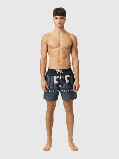 בגד ים מכנסיים קצר, צבע שחור ואפור, לוגו דיזל גדול
