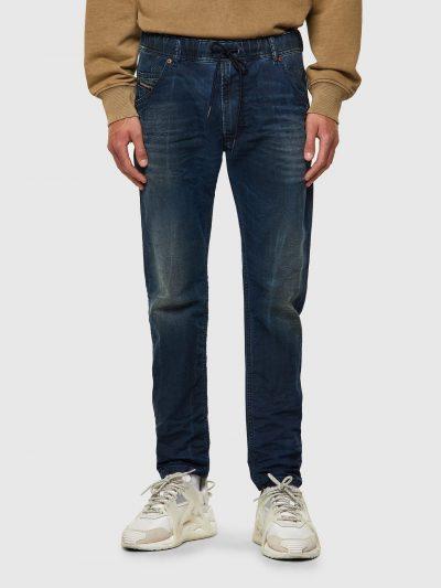 ג׳ינס כחול כהה גומי במותן גזרה ישרה מעט צרה בקרסול