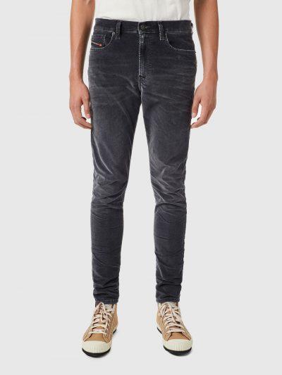 מכנסי ג׳ינס, צבע אפור כהה, גזרת סקיני, בד שעבר עיבוד מיוחד כדי להפוך לרך וקטיפתי למגע