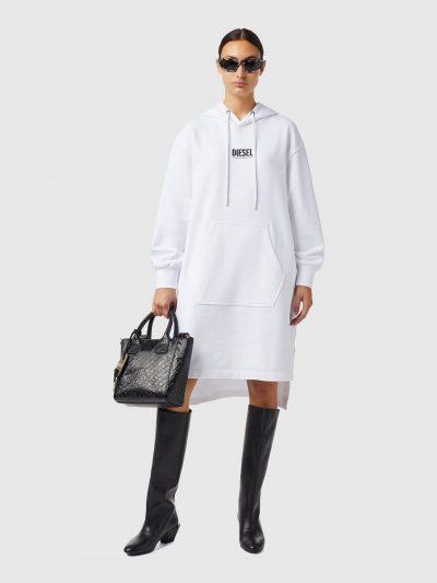 שמלת סווטשרט שחורה עם לוגו-לבן