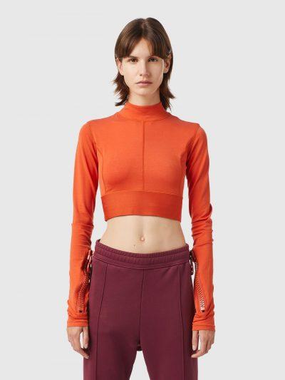 חולצת קרופ שחורה עם רוכסנים גדולים-אדום