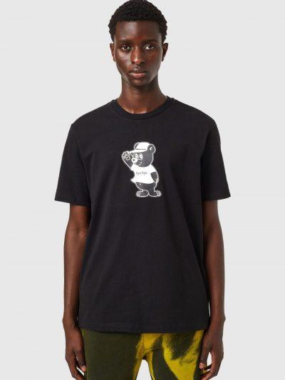 טישרט לבנה עם הדפס דובי-שחור